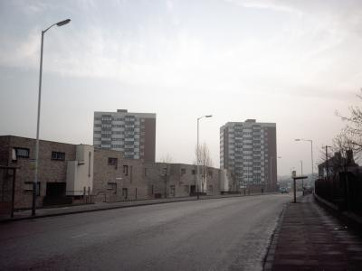 View of Newbolt Court (left) and Tennyson Court (right) from the northwest
