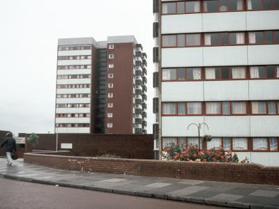 View of Newbolt Court (right) and Tennyson Court (left) from the south