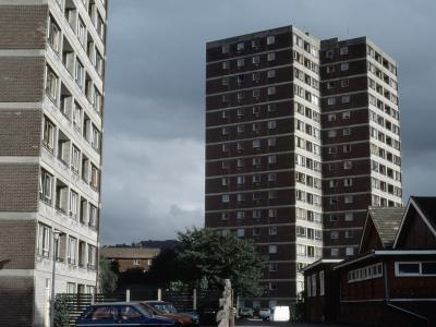 View of Range Court from the northwest, with Pennine Court in the foreground
