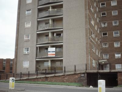 View of one of the blocks on the Elizabeth Street Estate, with a 'Housing Improvement Programme' notice attached