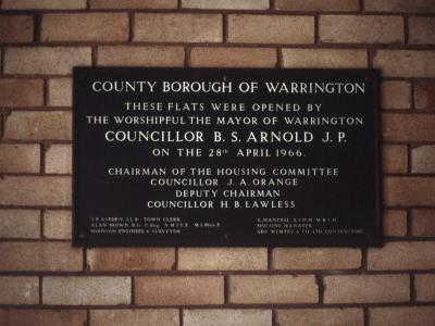 Plaque detailing the 1966 opening of Kingsway House