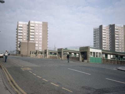 View of Albion Court (left) and St. James Court (right) from the north
