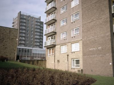 View of the side of Albion Court, with St. James Court in the background