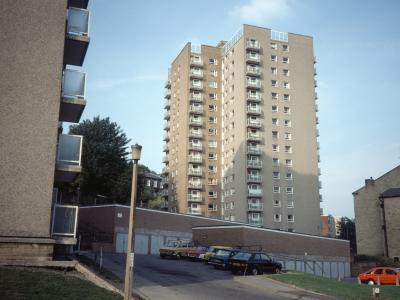 View of Haughton Towers and the corner of Ladstone Towers